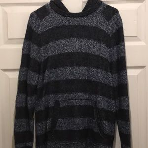 AEO Hoodie Sweater in black and blue/ grey stripes